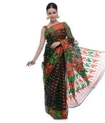 dhakai jamdani saree buy online samayra black orange and green muslin cotton dhakai jamdani saree
