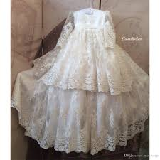 slae baby christening gowns lace applique long sleeve sequins