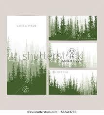 Landscape Business Cards Design Business Cards Design Set Green Forest Stock Vector 557413783