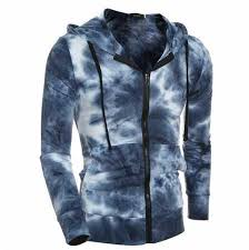fashion tie dye hoodie with zipper for outdoors mens hooded