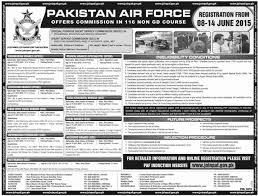 116 non gd course job in pakistan air force paf commission jhang