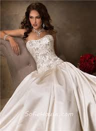 corset wedding dress luxury gown strapless chagne satin beaded wedding