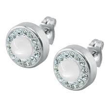 mens earrings studs silver rhinestone earrings stainless steel men jewelry