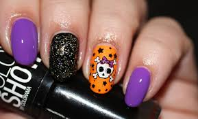 skull halloween colorful stamped nails seasonails