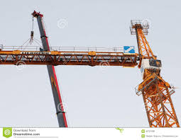 working jib of tower crane is installed with mobile crane