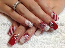 gel nails christmas nails red an white nails glitter nails