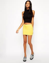 micro skirt lyst asos micro mini skirt in jersey in yellow