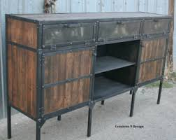 rustic credenza steel and reclaimed wood media console