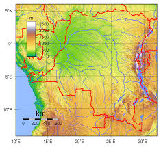 Physical Maps Detailed Physical Map Of Congo Democratic Republic Zaire Congo