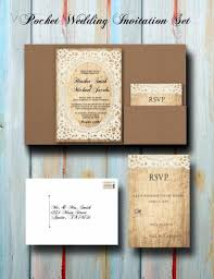 pocket wedding invitations custom vintage rustic lace pocket wedding invitation set pocket
