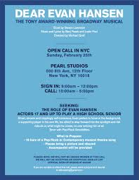 Seeking Opening Song Evan Hansen Will Hold Nyc Open Call This Weekend