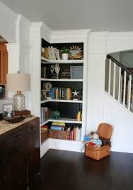 How To Build A Corner Bookcase Storage Organization Built In Corner Shelves In Stairs