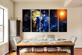 5 piece huge canvas print earth multi panel art space wall decor