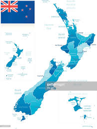 New Zealand Map Map Of New Zealand States Cities And Flag Vector Art Getty Images