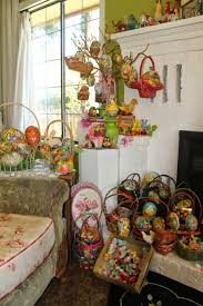 vintage easter decorations with shelf and unique egg and indoor