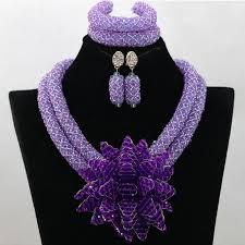 african wedding bead necklace images Fashion african wedding beads jewelry set lilac purple crystal nigeria jpg