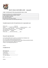 worksheet what could have been love by aerosmith past modals