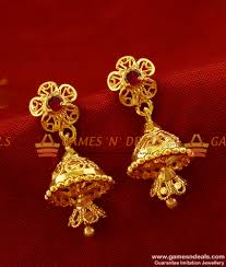 rings online gold images Er265 daily wear small double layer stone jhumki gold plated jpg