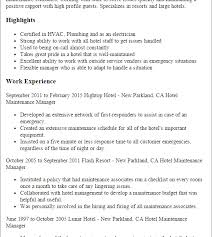 Hotel Management Resume Attractive Ideas Maintenance Manager Resume 12 Professional Hotel