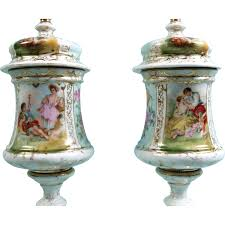 Antique Hand Painted Vases Antique Hand Painted Vases Urns Lid German French Lovers Victorian