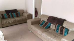 Tan Coloured Leather Sofas Dfs 3 Seater X 2 Leather Sofas In Taupe Tan Colour In Dewsbury