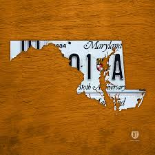License Plate Map Maryland State License Plate Map Mixed Media By Design Turnpike