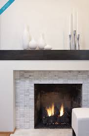 modern fireplace mantel rectangular marble tile bringing together gray and white rustic