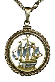 coin jewelry necklace images Stunning world 2 toned nautical gold and sterling silver cut coin jpg