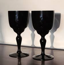 dark black amethyst goblet wine pair hand blown vintage from