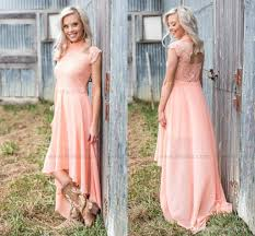 new design high neck high low country style bridesmaid dresses