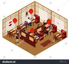 interior chinese restaurant customers waitress isometric stock