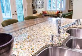glass countertop kitchen dramatic before and after combines quartz recycled glass and