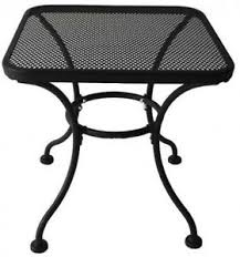 18 x 18 in square black steel mesh patio end table davenport
