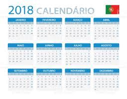 Calendario 2018 Feriados Portugal Calendá 2018 Versão Em Português Vetor E Ilustração Royalty
