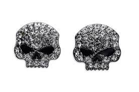 skull stud earrings harley davidson women s rhinestone skull stud earrings black