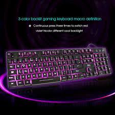 different color purples rk100 3 color led backlit mechanical feeling gaming keyboard black