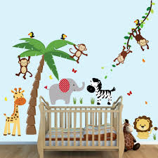 Jungle Wallpaper Kids Room by Large Palm Tree Wall Stickers With Jungle Animal Wall Stickers