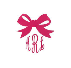 bow monogram bow monogram vinyl decal the initialed