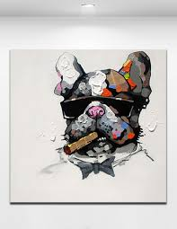 smoking dog hand painted cartoon animal abstract oil painting on