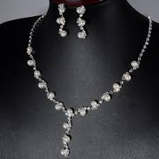 necklace set white images 2018 wholesale women white gold plated imitation pearl crystal jpg