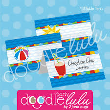 free printable table tents pool party table tents food table buffet cards pool party