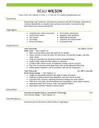 Automotive Technician Resume Sample by Lube Technician Resume Resume For Your Job Application