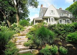 Steep Sloped Backyard Ideas Sloped Backyard Landscape Contemporary With Slope Abstract Outdoor