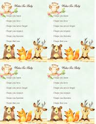 woodland forest animal baby shower game wishes for baby free