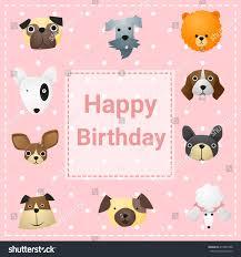cute happy birthday card funny dogs stock vector 414857998