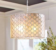 Capiz Light Pendant Capiz Drum Pendant Pottery Barn