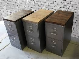 Rustic File Cabinet Refinished 2 Drawer Letter Size Metal Filing Cabinet W Wood