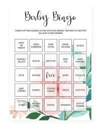 printable baby shower bingo cards floral baby bingo template