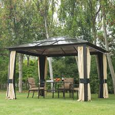 outsunny 12 u0027x10 u0027 outdoor gazebo canopy w mesh curtains