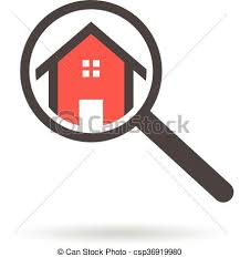 free house search real estate search logo of a house with magnifying glass vector